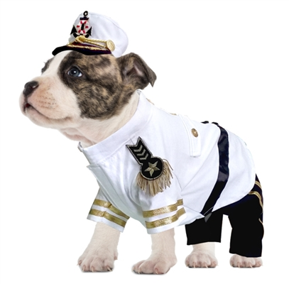 White Captain Halloween Dog Costume
