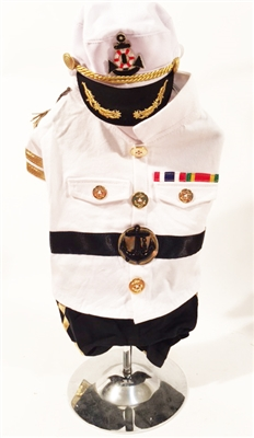 White Captain Halloween Dog Costume
