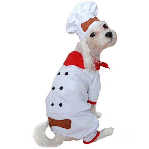 White and Red Chef Dog Costume