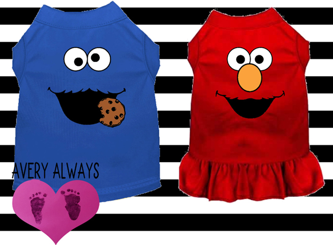 Cookie Monster and Elmo Inspired Costume Dress and Shirt for Dogs