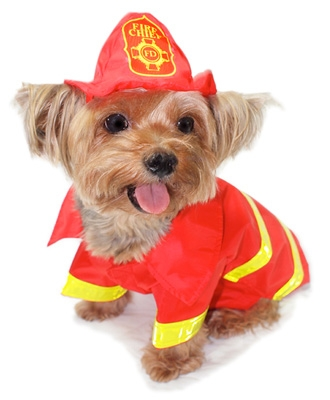 Red and Yellow Fireman Dog Costume