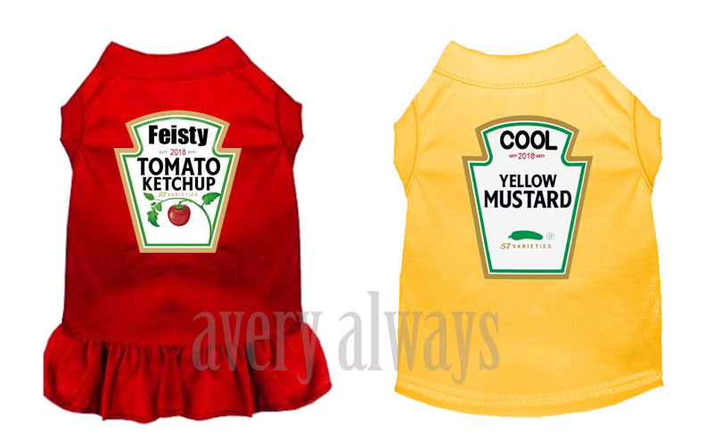 Ketchup and Mustard Costume Dress and Shirt for Dogs, Cats and Pets