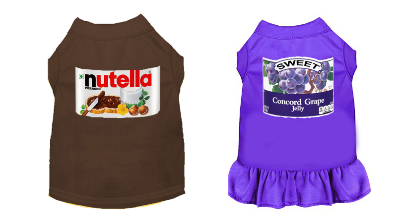 Nutella and Jelly Inspired Halloween Costume Dress and Shirt for Dogs