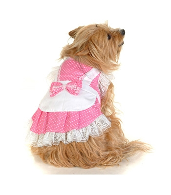 Pink Dotty Maid Dog Costume