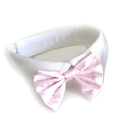 Pink Satin Bowtie Dog Collar