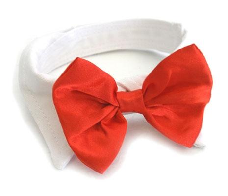 Red Satin Bowtie Dog Collar